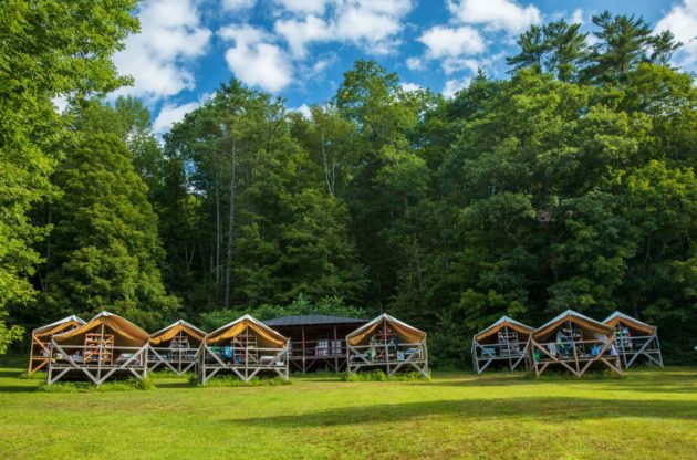 Camp cabins in a row.