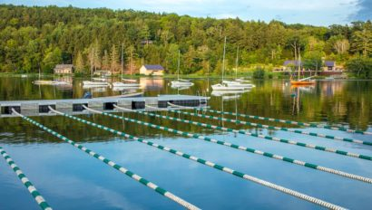 Swimming lanes in the lake.