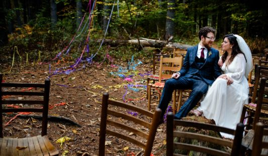 Wedding ceremony in the fall.