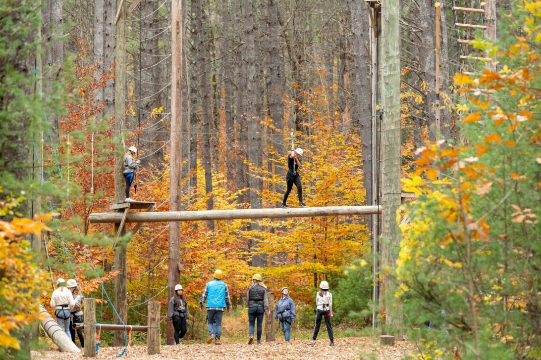 Students doing an outdoor ropes course.