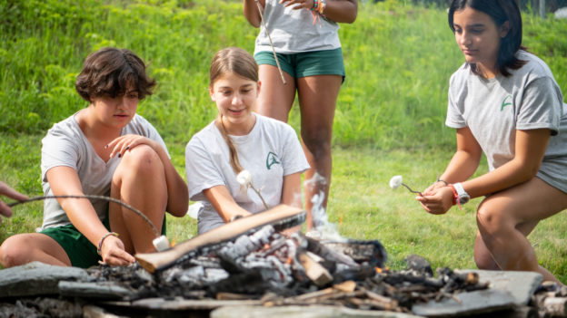 Campers roasting marshmallows.