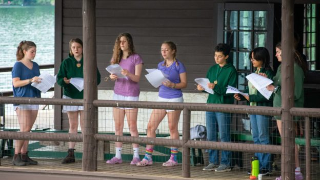 Campers practicing a scene.