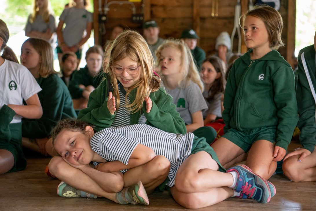 Campers during a camp assembly.