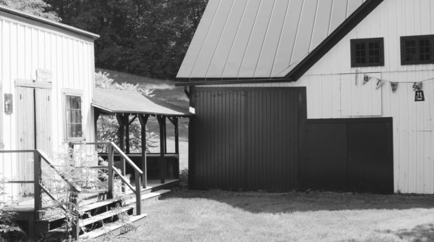 A black and white view of the outside of a building.