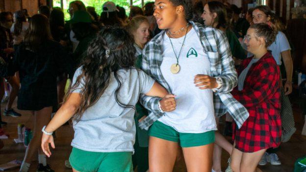 Campers dancing.