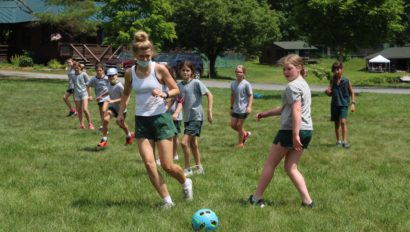 Campers playing soccer.