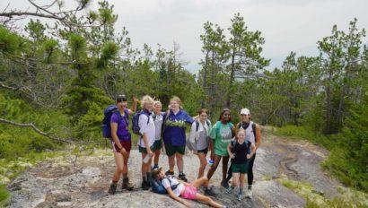 Campers hiking.