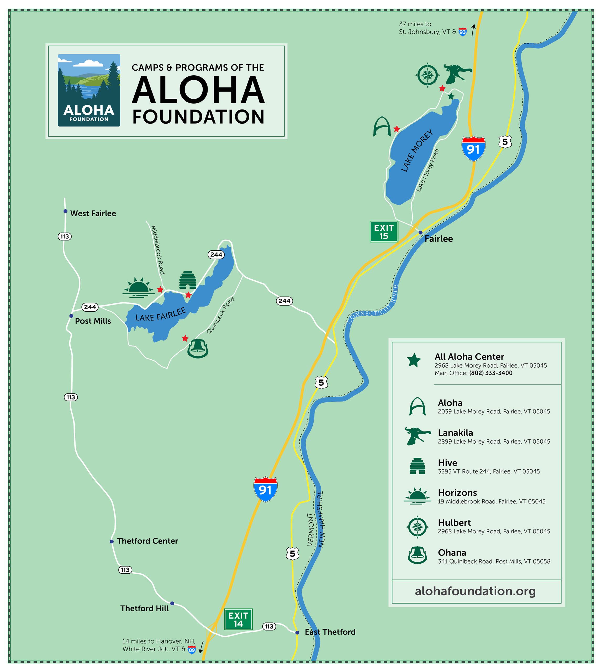 A map of the Aloha Foundation.