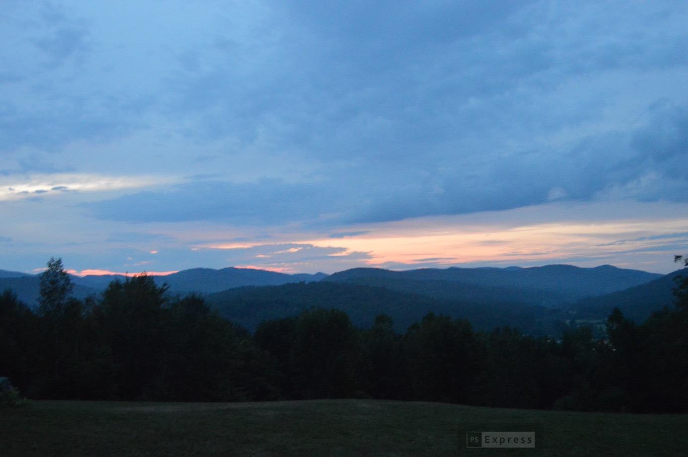 Dusk settling over the mountains.