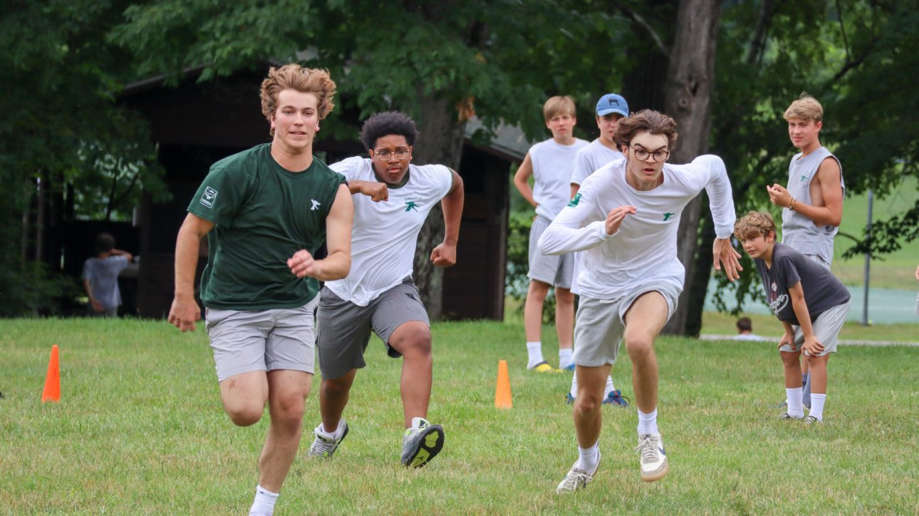 Campers running.