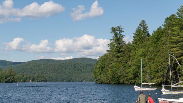 A lake with sailboats.