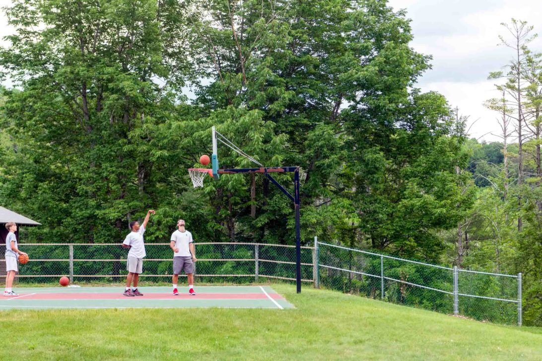 Campers playing basketball.