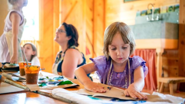 Campers making art.