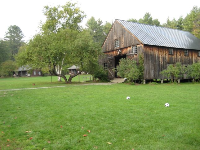 The outside of a barn.