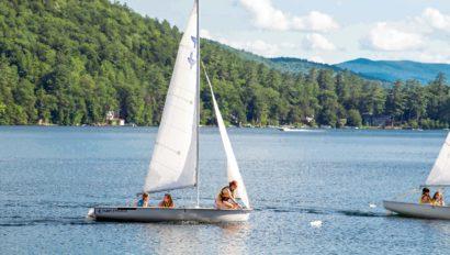 A sailboat on a lake.