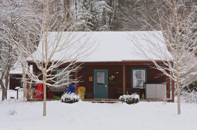 A cabin in the winter.